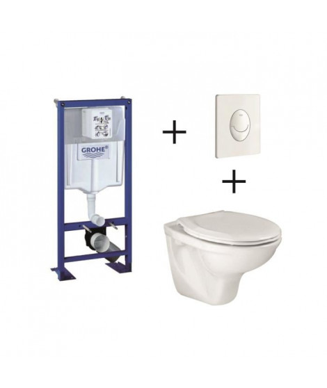 Pack complet wc suspendu  GROHE Bâti-support 113 cm + plaque blanche + cuvette Lyra + abattant