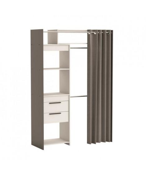 WALKER Dressing extensible classique blanc et gris graphite - L 112 - 168 cm