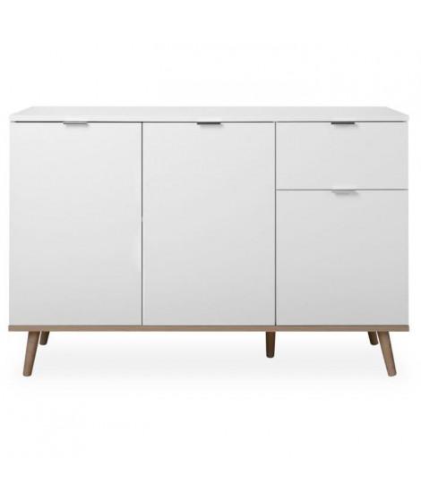 GOTEBORG Buffet bas blanc et décor chene sonoma - Style scandinave - 120 cm