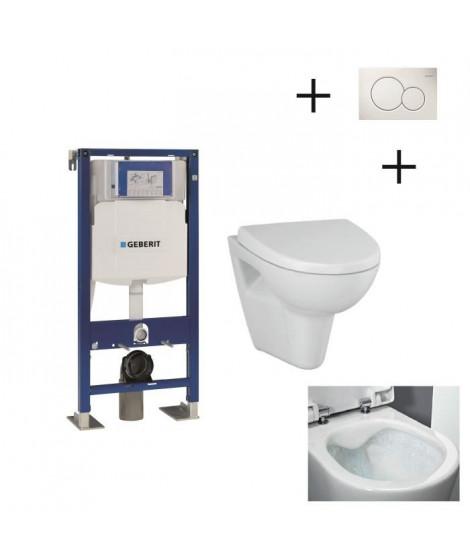Pack WC suspendu complet avec Bâti Support GEBERIT UP 320 Duofix autoportant + plaque blanche + cuvette sans bride Velvet