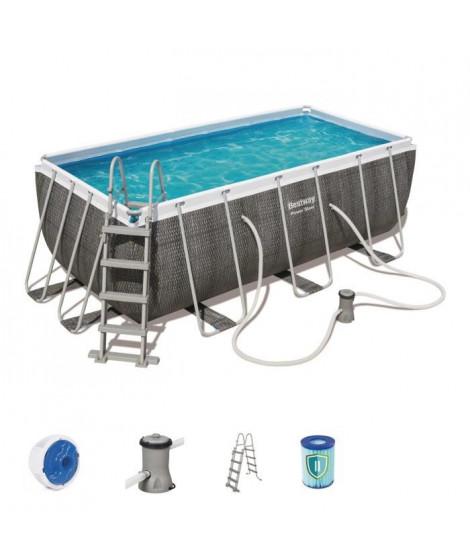 BESTWAY Kit piscine rectangulaire Steel Frame Pool - 412 x 201 x 122 cm - Tressé