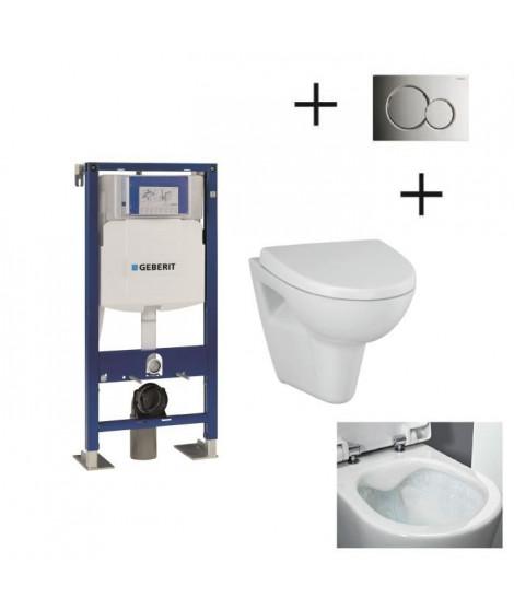 GEBERIT Pack WC suspendu complet avec plaque chromée brillante et cuvette sans bride Velvet