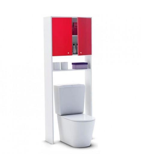 CORAIL Meuble WC ou machine a laver L 63 cm - Rouge brillant