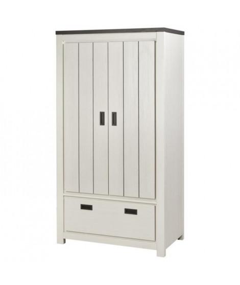 BERNADO Armoire de chambre classique blanc et noir - L 98 cm