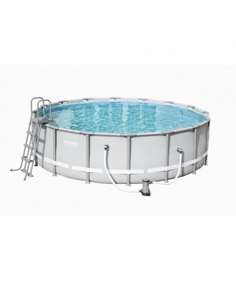 BESTWAY Kit piscine ronde Power Steel Frame Pool - Ø 488 x H 122 cm