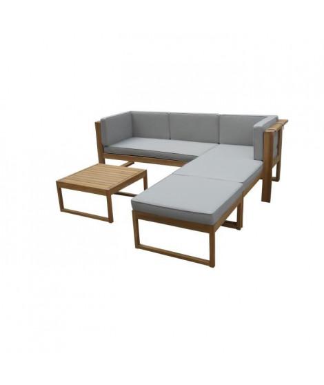 EZEIS Salon bas en acacia 4 pieces avec coussins - Gris et bois