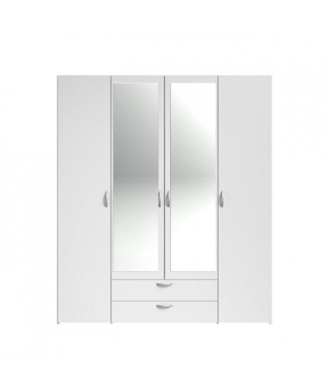 VARIA Armoire 4 portes miroir décor blanc - L 160 x P 51 x H 185 cm