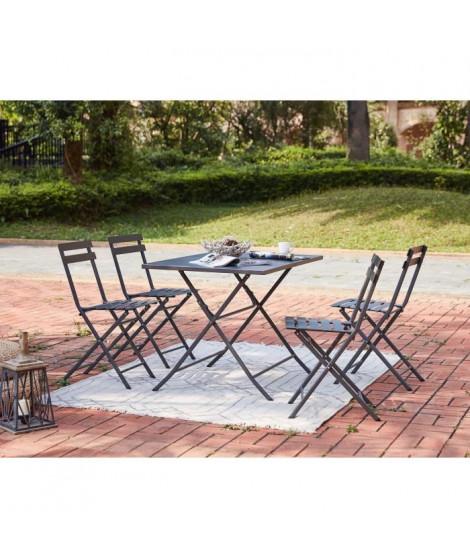 Ensemble repas de jardin - Table 110 cm + 4 chaises - Gris
