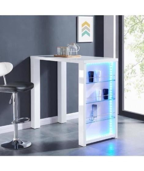 FLASH Table bar avec LED de 4 a 6 personnes style contemporain blanc laqué brillant - L 120 x l 60 cm