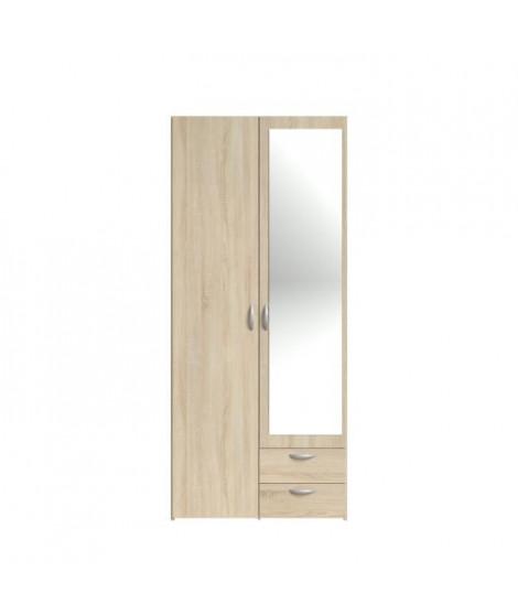 VARIA Armoire 2 portes miroir décor chene - L 81 x P 51 x H 185 cm