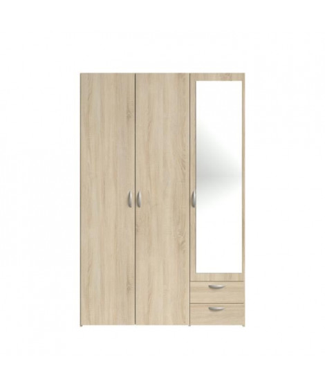 VARIA Armoire 3 portes miroir décor chene - L 120 x P 51 x H 185 cm