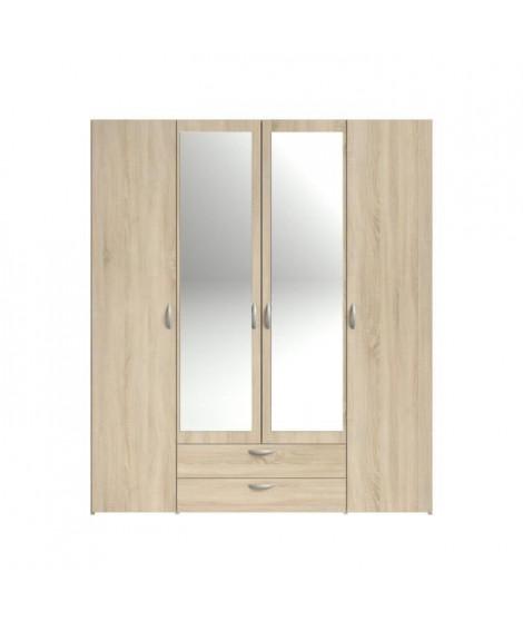 VARIA Armoire 4 portes miroir décor chene - L 160 x P 51 x H 185 cm