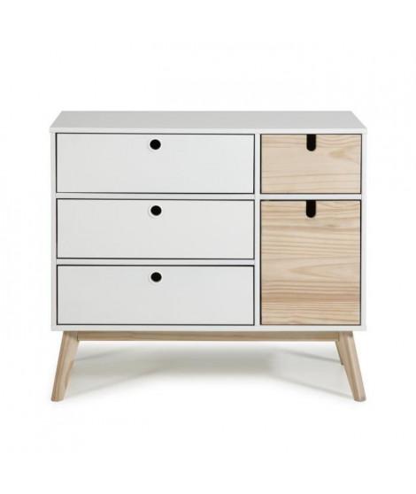 AYORA Commode 1 porte et 4 tiroirs - Décor naturel et Blanc - L 90 x P 40 x H 80 cm