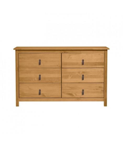ALOUETTE Commode 6 tiroirs - Décor chene et poignées simili - L 130 x P 45 x H 80 cm
