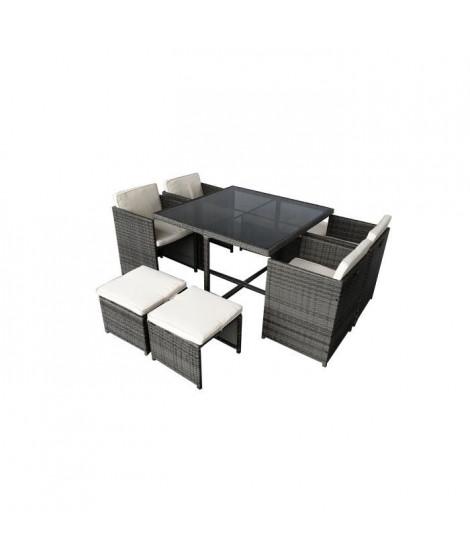 CARIOCA2 Ensemble repas de jardin encastrable - table 110x110 plateau en verre + 4 fauteuils et 4 poufs en résine tressée - Gris