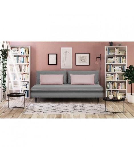 APOLINE Banquette méridienne 3 places - Tissu Gris clair/Rose - Style classique - L 192 x P 101 cm