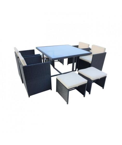 CARIOCA2 Ensemble repas de jardin - table 110x110cm plateau en verre + 4 fauteuils et 4 poufs en résine tressée - Noir