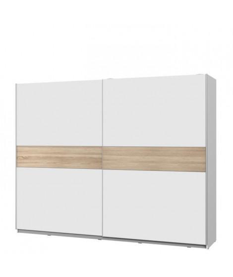 ATOS Armoire 2 portes coulissantes - Blanc mat et décor chene - L 269,9 x P 61,2 x H 209,7 cm