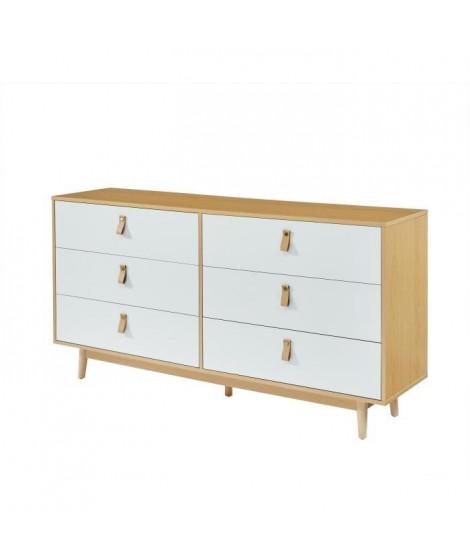 CAMBRIDGE Commode 6 tiroirs avec poignées en cuir blanc et bois - L 158,5 x P 40 x H 80 cm