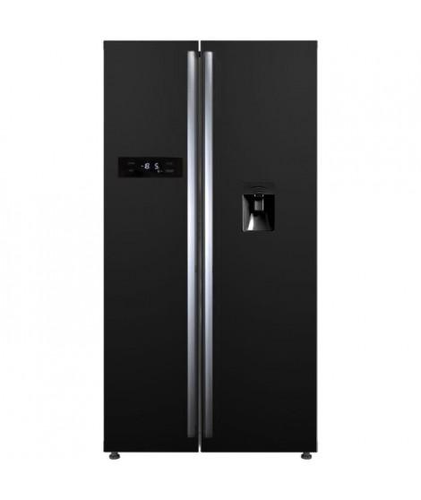 CONTINENTAL EDISON - Réfrigérateur américain-525 L (348 + 177L)-No frost-A+-L 89,5 x H 178,5 cm-Noir-Distributeur d'eau autonome