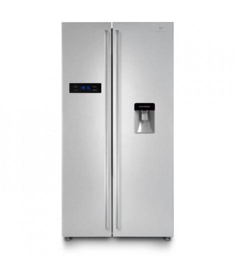 CONTINENTAL EDISON - Réfrigérateur américain-525 L (348 + 177L)-No frost-A+-L 89,5 x H 178,5 cm-Inox-Distributeur d'eau autonome