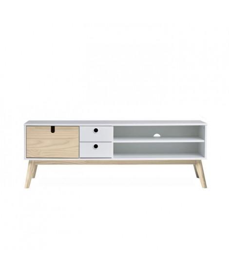 AYORA Meuble TV 1 porte 2 tiroirs - Décor naturel et blanc - L 140 x P 37 x H 48,8 cm