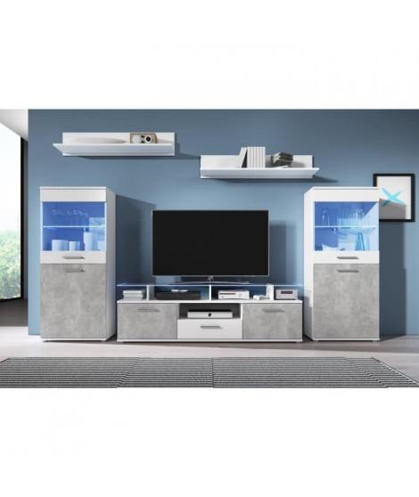ELIO Meuble TV mural avec LED contemporain blanc brillant et effet béton + plateau en verre - L 252 cm