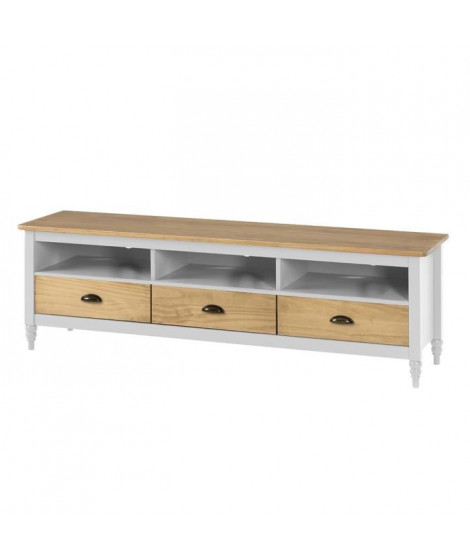 IRENE Meuble TV 3 tiroirs - Décor blanc ciré - L 158 x P 40 x H 49 cm