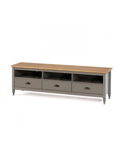 LAVANDE Meuble TV 3 tiroirs - Décor gris ciré - L 158 x P 40 x H 49 cm
