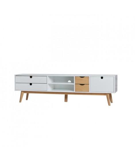 LILA Meuble TV 1 porte 4 tiroirs - Décor blanc ciré - L 180 x P 37 x H 50 cm