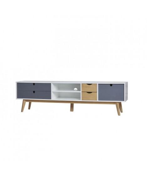 LILA Meuble TV 1 porte 4 tiroirs - Blanc et gris anthracite ciré - L 180 x P 37 x H 50 cm