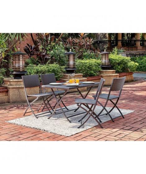 FINLANDEK - Salon de jardin en résine tressée - Table Rectangulaire pliable 110 cm + 4 chaises pliantes - Gris