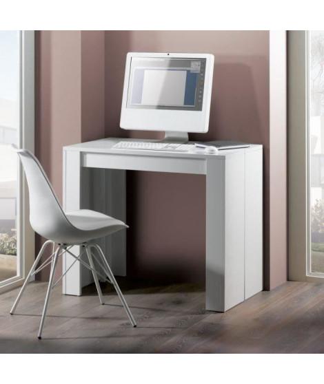 GOOMY Console extensible style contemporain - Blanc mat - L 50 a 180 cm