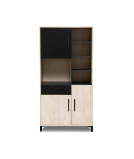 BLACKPOOL Buffet de cuisine 3 portes 1 tiroirs - Décor chene et noir - L 90 x P 40 x H 178 cm