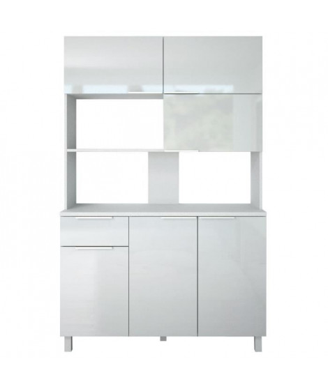 LOVA Buffet de cuisine contemporain blanc brillant - L 120 cm