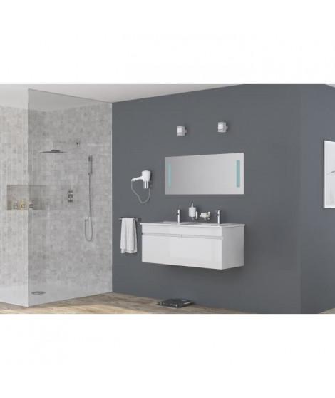 LOUNGITUDE Meuble sous vasque ALBAN L 120 cm double vasque incluse - blanc brillant