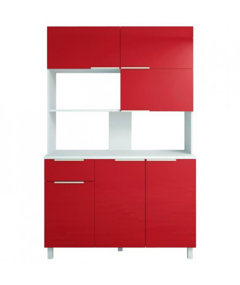 LOVA Buffet de cuisine contemporain rouge brillant - L 120 cm