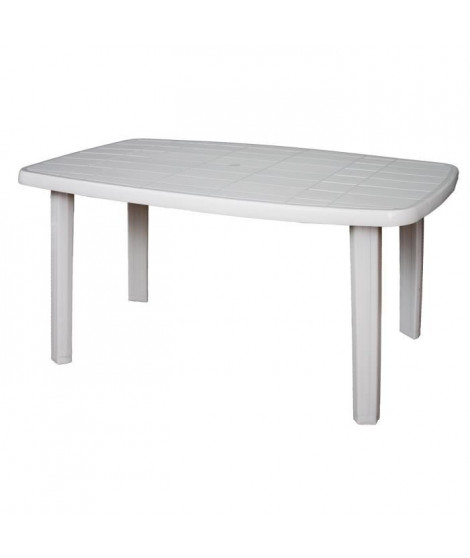 Table de jardin rectangulaire Sorrento - 6 places - 140 x 80 x 72 cm - Blanc