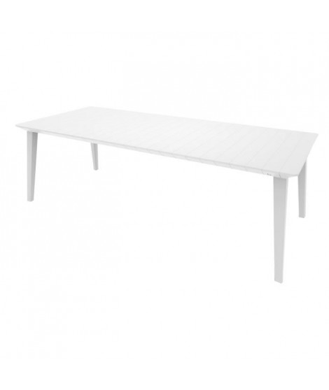 ALLIBERT JARDIN Table Lima 240 6-10 personnes avec allonge - Design contemporain - Blanc