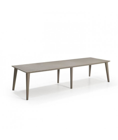ALLIBERT JARDIN Table Lima 320 8-10 personnes avec allonge - Design contemporain - Cappucino