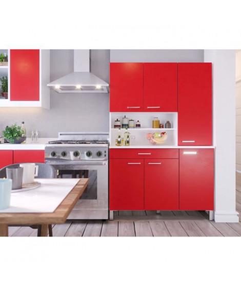 TACOMA Buffet de cuisine L 120 cm - Rouge mat