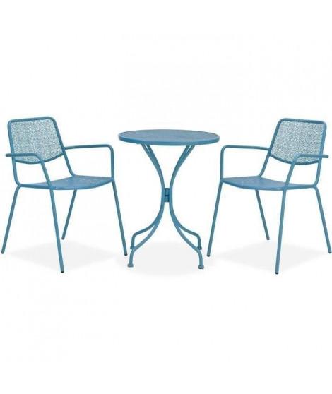 Ensemble repas de jardin ou balcon - Set bistrot table avec 2 fauteuils - Table : 60 x 70 cm, fauteuils : 54 x 64 x 77 cm - Bleu