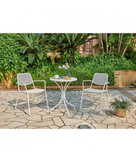 Ensemble repas de jardin ou balcon - Set bistrot table avec 2 fauteuils - Ø 60 x 70 cm - Blanc
