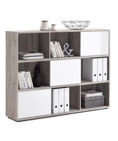 FUTURA Bibliotheque contemporain - Gris effet béton et blanc brillant - L 145 cm