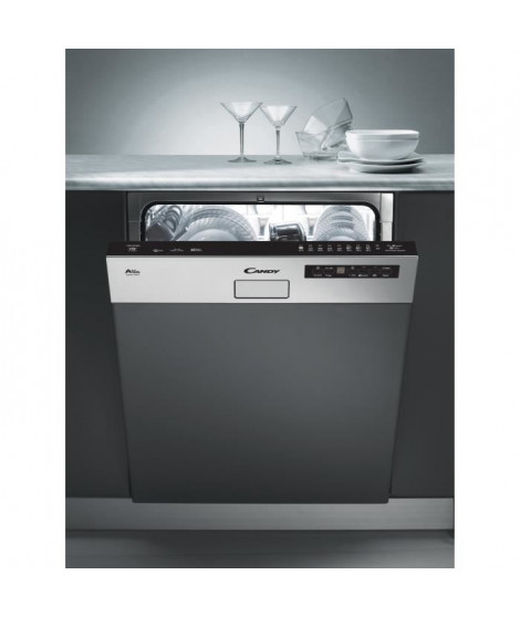 CANDY CDS2D35X - Lave vaisselle encastrable - 13 couverts - 46 dB - A++ - Larg 60 cm - Bandeau inox