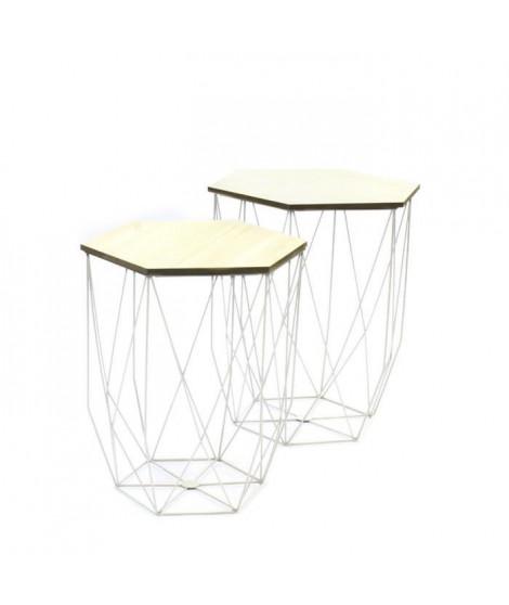 Lot de 2 Tables gigognes filaire - Blanc - L 40 x P 40 x H 45,5 cm