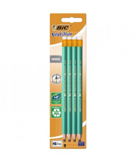 BIC Evolution Original Crayons a Papier avec Gomme Intégrée - HB, Blister de 8