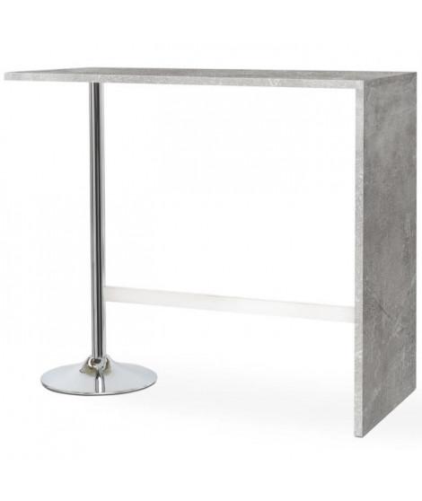 PARTY Table bar de 4 a 6 personnes style contemporain effet béton brillant - L 120 x l 60 cm