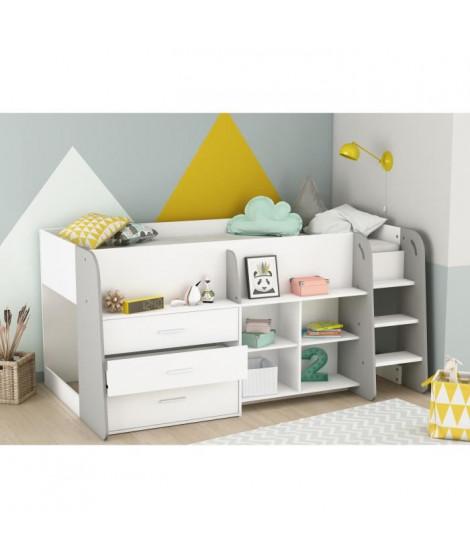 HAPPY Lit combiné junior 90x200 cm -  Blanc Mat et gris clair - L 203,4 x H 97,8 x P 120,5 cm