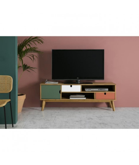 OCEANE Meuble TV 1 porte 2 tiroirs - Décor terracota , blanc et vert ciré - L 140 x P 37 x H 52 cm